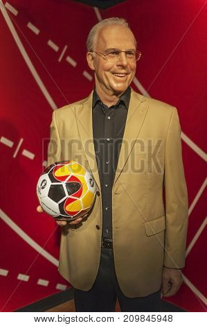 Berlin, Germany - March 2017: Franz Beckenbauer  wax figure in Madame Tussaud Museum