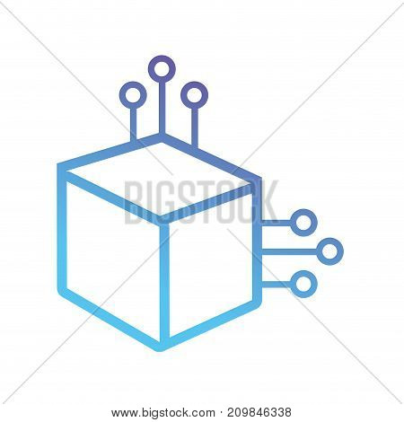 line cube circuit power electric vector illustration