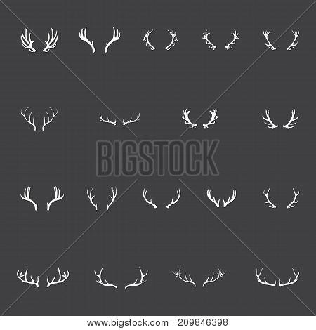 Antlers - Vector Antler Set of Reindeer, Stag, Elk, Moose