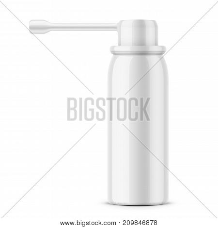 White glossy aluminum bottle with sprayer for oral spray. 40 ml. Photo-realistic packaging mockup template. Side view. Vector illustration.