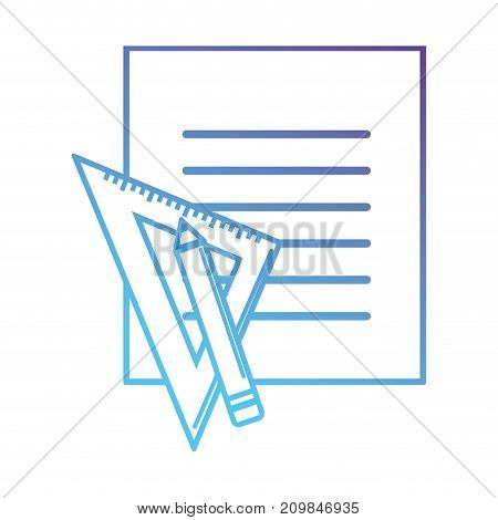 line block paper with triangle ruler and pencil vector illustration