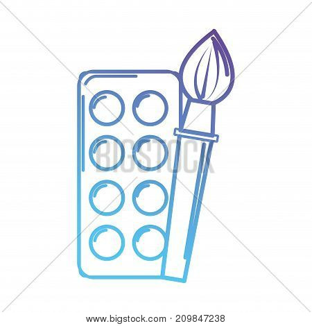 line watercolor and brush paint object vector illustration