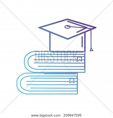 line books object and cap graduation vector illustration