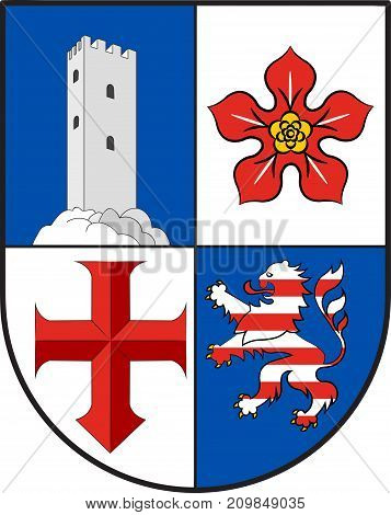 Coat of arms of Bergstrasse is a district in the south of Hesse Germany. Vector illustration