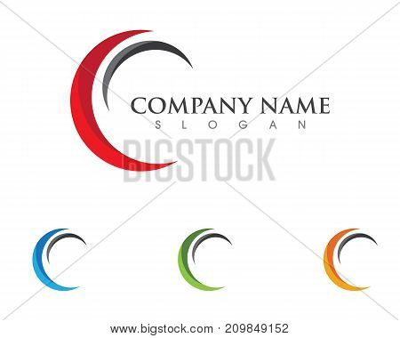 C letter wave Logo Template vector illustration