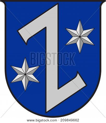 Coat of arms of Ruesselsheim am Main is the largest city in the Gross-Gerau district in the Rhein-Main region of Germany. Vector illustration