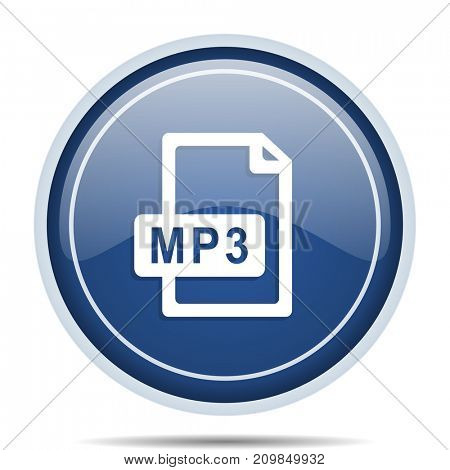 Mp3 file blue round web icon. Circle isolated internet button for webdesign and smartphone applications.