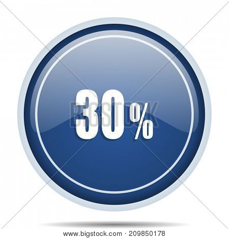 30 percent blue round web icon. Circle isolated internet button for webdesign and smartphone applications.