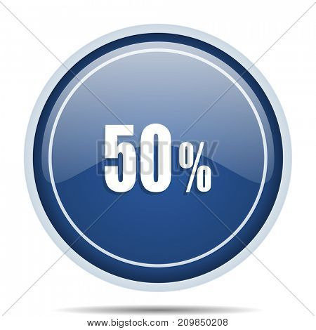 50 percent blue round web icon. Circle isolated internet button for webdesign and smartphone applications.