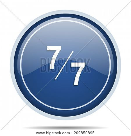 7 per 7 blue round web icon. Circle isolated internet button for webdesign and smartphone applications.