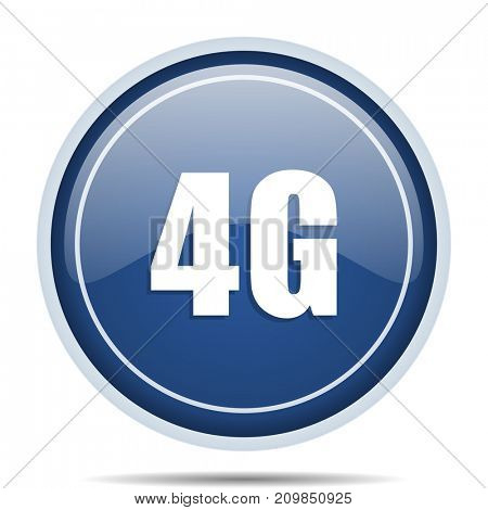 4g blue round web icon. Circle isolated internet button for webdesign and smartphone applications.