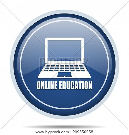 Online education blue round web icon. Circle isolated internet button for webdesign and smartphone applications.