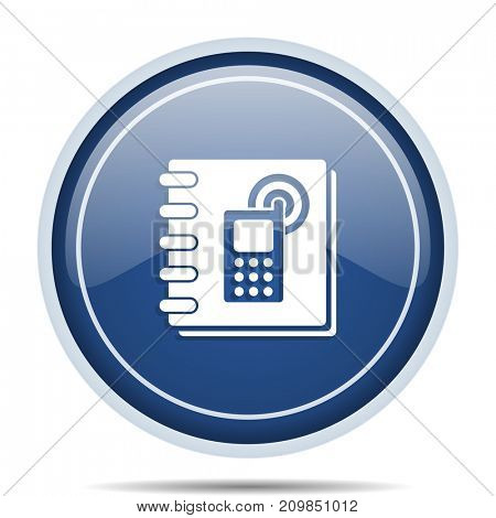 Phonebook blue round web icon. Circle isolated internet button for webdesign and smartphone applications.