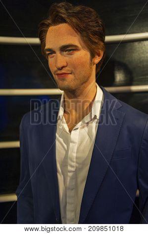Berlin - March 2017: Robert Pattinson wax figure in Madame Tussauds museum