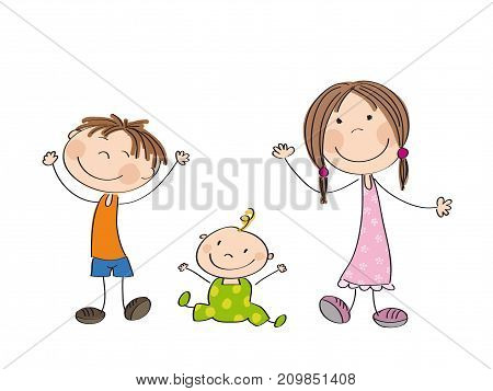 Happy kids - original hand drawn illustration of three happy children - boy girl and little baby