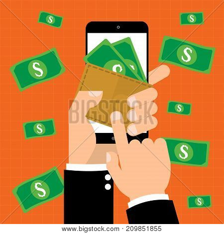 Businessman hand point to e-Wallet with banknote on mobile smart phone for online payment with banknote on background.Vector illustration online business eWallet concept.