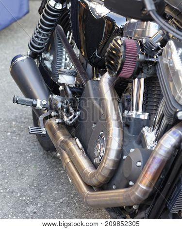 detail of engine motorbike near my house