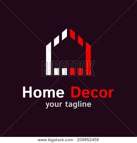 Vector logo template for decor company. Illustration of house in red and white color. EPS10. Design concept for real estate company. Home icon. Modern and simple logotype.