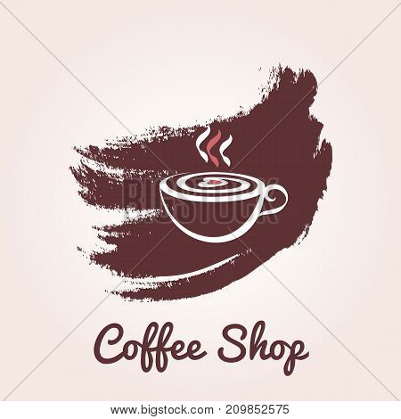 Illustration of cup of coffee with foam in the form of heart in grunge style. Vector logo template for cafe restaurant menu coffee shop. Icon of coffee cup.