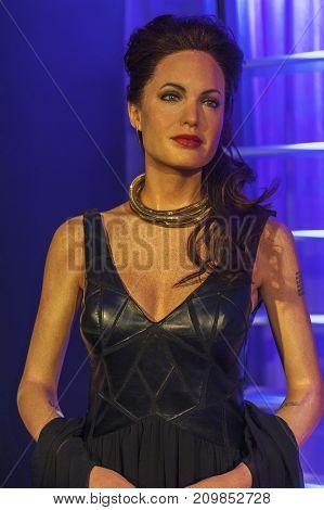 Berlin - March 2017: Angelina Jolie wax figure in Madame Tussauds museum
