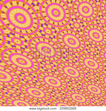 Abstract geometric background. Irregular concentric circles pattern yellow ocher violet purple.