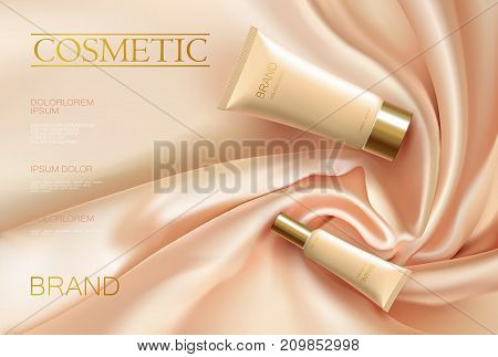 Realistic 3d cosmetic tube ad satin fabric. Drapery silk pink beige color propotional poster template. Golden package set vector illustration art