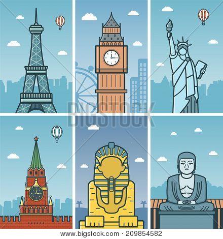 World Landmarks design with Cities skylines. Paris, London, New York, Moscow, Giza and Kamakura cities skylines design with landmarks. Vector illustration