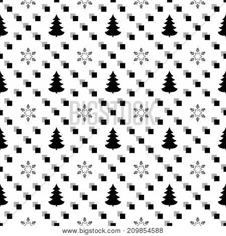 Snowflake and tree in square seamless pattern. Fashion graphic background design. Modern stylish abstract texture. Monochrome template for prints textiles wrapping wallpaper. Vector illustration
