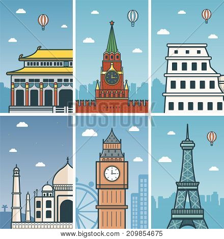 World Landmarks design with Cities skylines. Beijing, Moscow, Rome, Agra, London and Paris cities skylines design with landmarks. Vector illustration