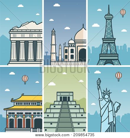 World Landmarks design with Cities skylines. Athens, Agra, Paris, Beijing, Chichen Itza and New York cities skylines design with landmarks. Vector illustration