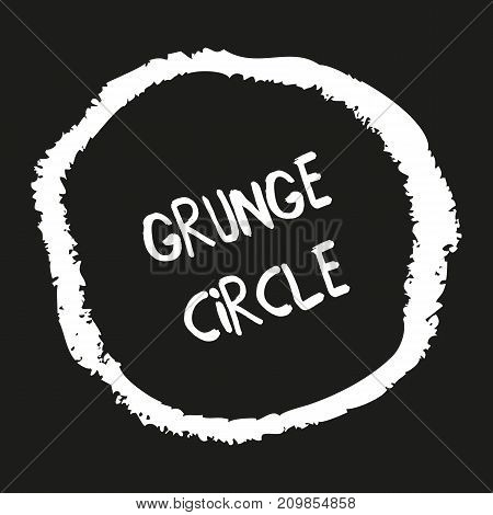 Hand drawn grunge circles. Hand painted frames with pastel crayons. Graphic design element on black background. Abstract textured chalk elements. Ornamental round doodle shapes. Vector illustration.