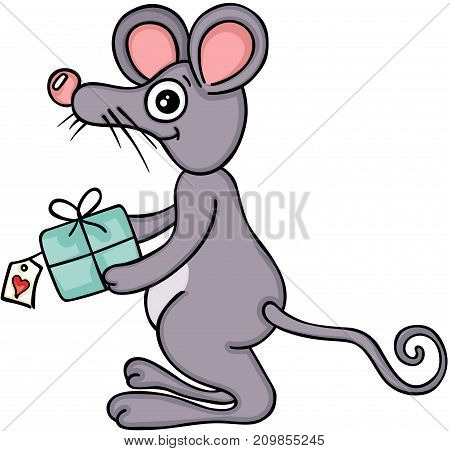 Scalable vectorial image representing a cute mouse with gift, isolated on white.