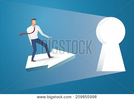 Business concept illustration of a businessman ride arrow icon into keyhole