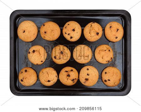 Old baking tray with homemade peanut cookies on white background top view