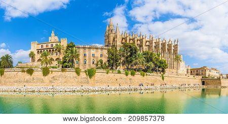 The gothic Cathedral and medieval La Seu in Palma de Mallorca islands Spain