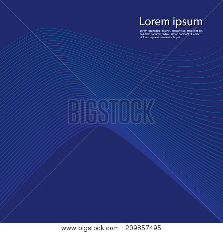 Abstract wavy background for banner, flyer, book cover, poster. Dynamic effect.  Dark blue background