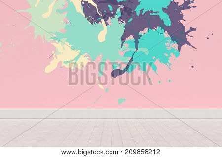 Colourful paint splashes against pink wall by hardwood floor