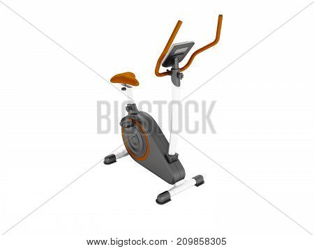 Modern Sports Exercise Bike With Electric Control Home Orange 3D Render On A White Background No Sha