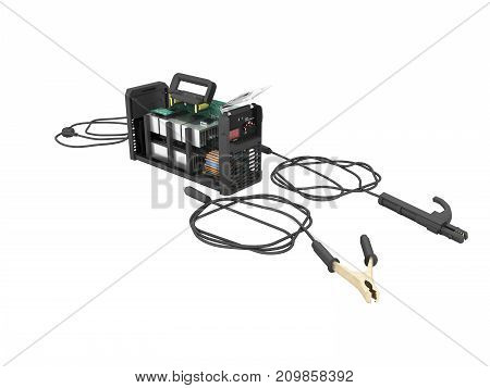 Modern Inverter Welding Machine Dismantled Gray Perspective 3D Render On White Background No Shadow
