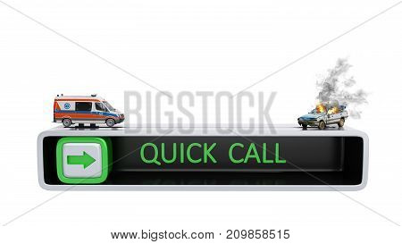 Concept Of Quick Call Of Ambulance 3D Render On White No Shadow
