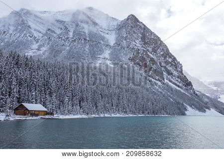 A cabin at Lake Louise in Banff National Park Canada.