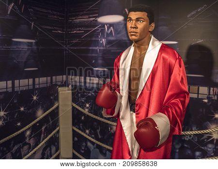 Berlin - March 2017:  Muhammad Ali wax figure in Madame Tussauds museum