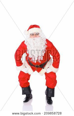Santa Claus isolated on white background. Full length portrait.