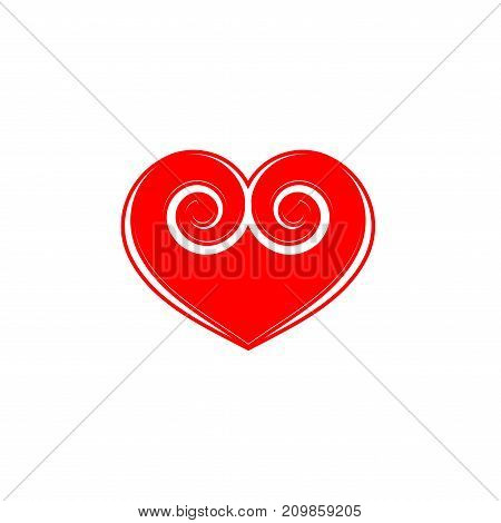 Red heart sign. Icon on white background. Romantic symbol linked join love passion and wedding. Template for t shirt apparel card poster of valentine day. Flat vector illustration