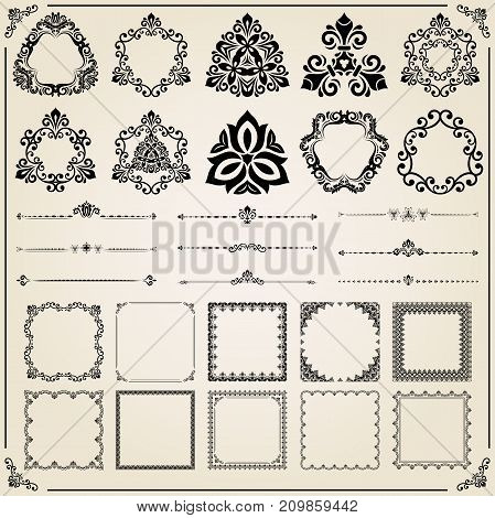 Vintage set of square, round and horizontal elements. Different elements for decoration and design. Set of vintage patterns