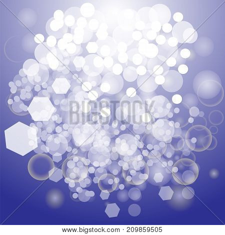 Blue Abstract Background. Winter Blurred Pattern with Flare and Lens