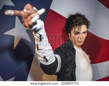 Berlin - March 2017:  Michael Jackson wax figure in Madame Tussauds museum