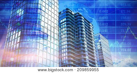 3d image of modern offices against stocks and shares