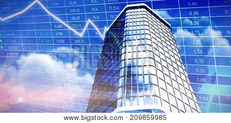 3d illustration of modern office building  against stocks and shares