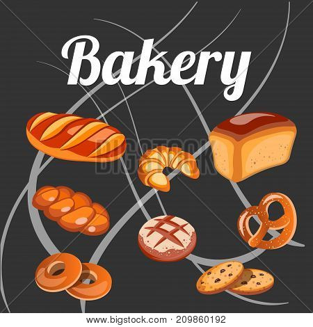Set bread isolated on the black background. Vector illustration